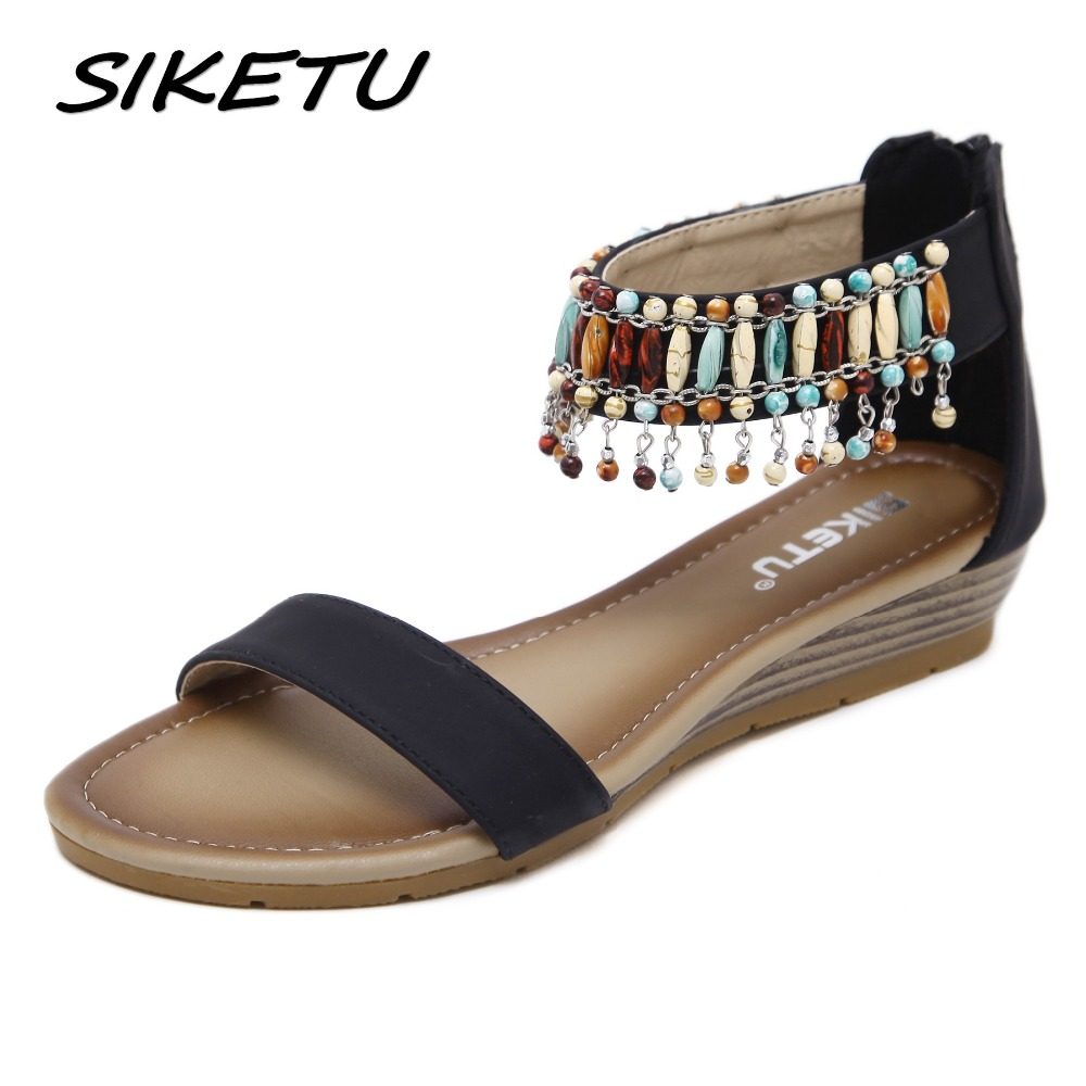 SIKETU Women Ethnic Bohemia Wedge Sandals Shoes Woman String Bead Beach Sandals Casual Gladiator Shoes size 35-42 Black Apricot phyanic 2017 gladiator sandals gold silver shoes woman summer platform wedges glitters creepers casual women shoes phy3323