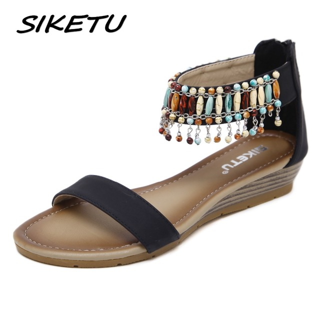3c06df49be1b4d SIKETU Women Ethnic Bohemia Wedge Sandals Shoes Woman String Bead Beach  Sandals Casual Gladiator Shoes size 35-42 Black Apricot