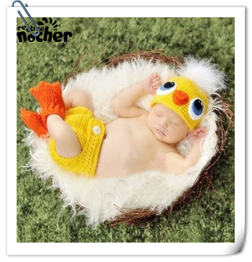 Baby Photo Shoot Costume Manual Knitting Duck Modelling Hats Pants 3pcsSet Newborn Photography Props Accessories Fotografia