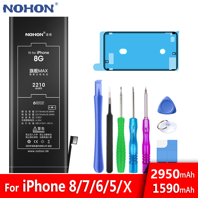 High Capacity NOHON Original Battery For Apple iPhone 5 6 7 8 X iPone iPhoneX iPhone5 iPhone6 iPhone7 iPhone8 Replacement Tools(China)