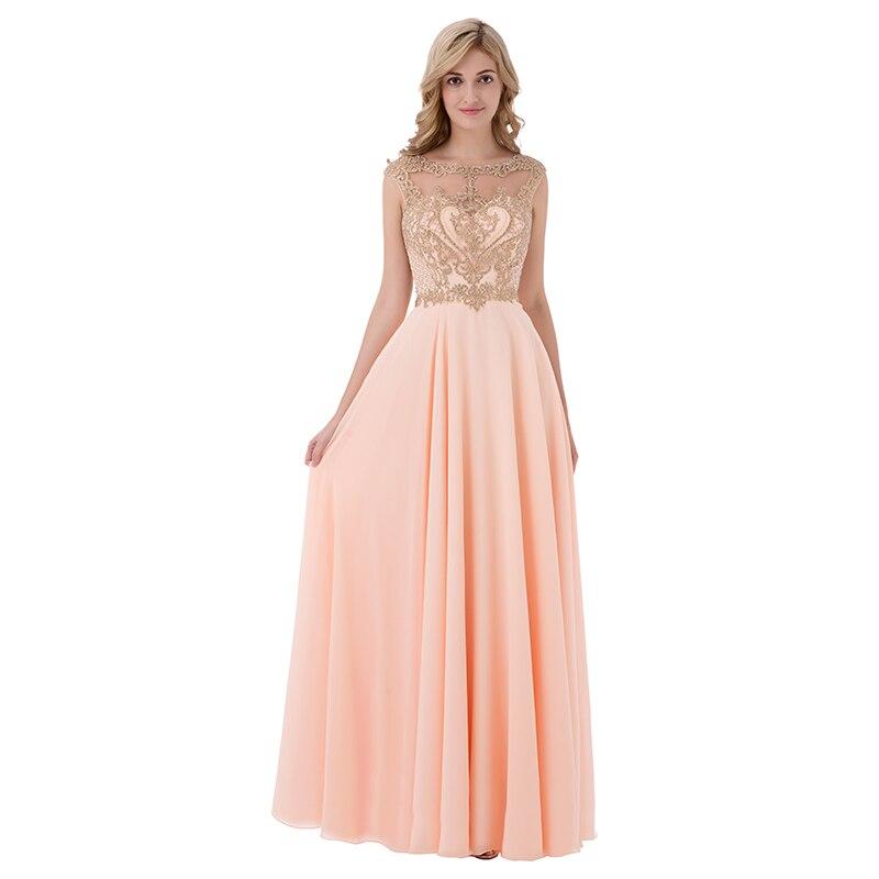Sleeveless Chiffon Sheer Neck Illusion Back Long Bridesmaid Dress 6
