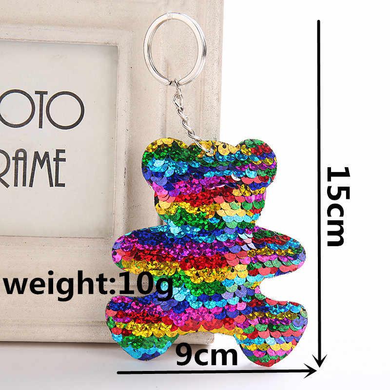 Fancy & Fantasy Dễ Thương Gấu Keychain Glitter Sequins Key Ring Quà Tặng cho Phụ Nữ Llavero Chaveros Charms Túi Xe Phụ Kiện Chính chuỗi