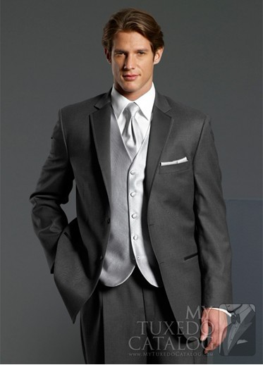 Newest Groom Tuxedo Charcoal Grey Groomsmen Notch Lapel Wedding/Dinner Suits Best Man Bridegroom (Jacket+Pants+Tie+Vest) B262