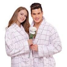 Зима Осень толщиной полотенце мужчины женщины халат дамы домашняя одежда мужской пижамы отдыха пижамы пижамы длинный мягкий теплый дом белый