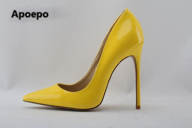 6aaf7cb64e0 Newest brand 2018 Pointed toe Yellow Patent Leather High Heel Shoes Woman Pumps  Slip-on Stiletto Heels Thin heels Shoes