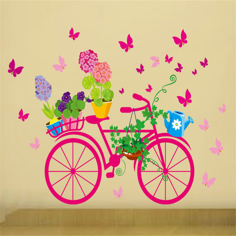 Removable Bicycle Flower Girl Vinyl Art Wall Sticker Mural DIY Home ...
