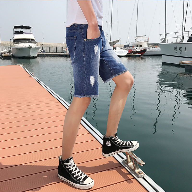 Summer Mens Thin Loose Elastic Waist Casual Drawstring Straight Jean Shorts New Style Comfortable Male Large Clothing Size