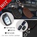 Genuine Leather Car intelligent/folding Key Case Fob Cover for IX30 All New Santafe Sonata ELANTRA  Verna ELANTRA