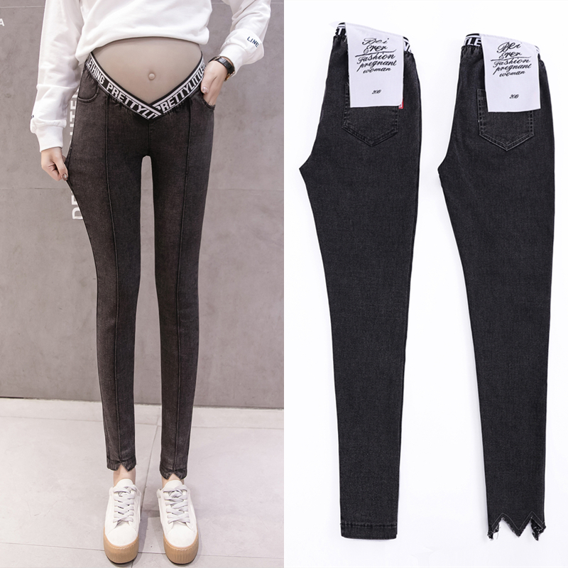 Low Waist W Leg Open Spring Belly Skinny Maternity Legging In Elastic Cotton Pencil Pregnancy Pants Clothes for Pregnant Women in Jeans from Mother Kids