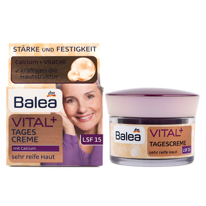 Balea VITAL+Day Cream for Old Mature Skin Ages 55+ to 70+ Anti aging Anti wrinkle Enhance skin elasticity Firming Paraben-Free недорго, оригинальная цена