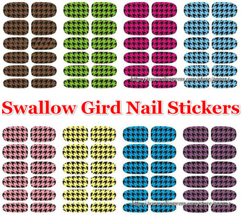 wholesale new 3D Swallow Gird Nail Stickers DIY decoration decal nail art beauty sticker wraps 100sheets/lot free shipping