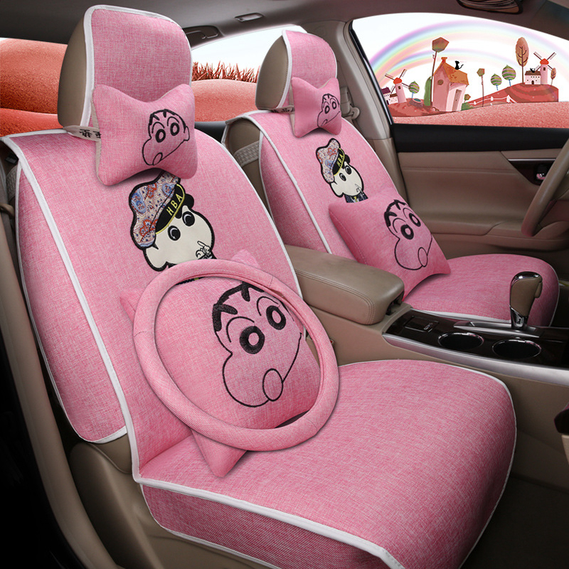 Car Styling Crayon Shinchan 3D Flax Breathable Cartoon Flax For Five General Models Car Seat Protector Seat Covers Auto covers