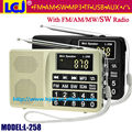 L-258 multi banda completa fm am mw sw radio receiver, MP3 player a partir do cartão tf e USB flash drive, pode salvar e excluir canal de rádio