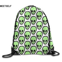 SAMCUSTOM 3D Print Green Alien Shoulders Bag Women Fabric Backpack Girls Beam Port Drawstring Travel Shoes Dust Storage Bags(China)