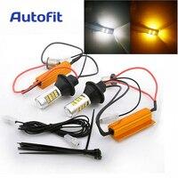 2PCs 1156 BAU15S PY21W 7507 White Amber Canbus No Error Switchback LED Bulbs Dual Color Turn
