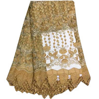 African Tulle Lace Fabric Gold African French Lace Fabric High Quality With Stones Nigerian Embroidery Tulle