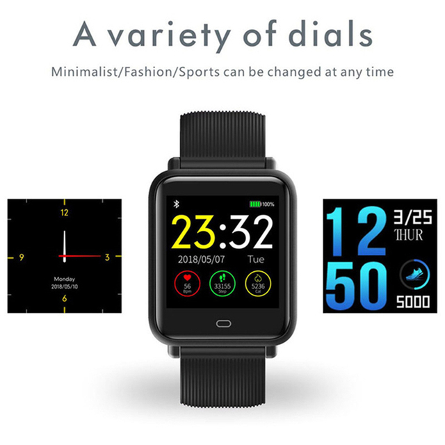Smart Watch Q9 Blood Pressure Heart Rate Sleep Monitor Bracelet IP67 Waterproof Sport Fitness Trakcer Watch Men Women Smartwatch 4
