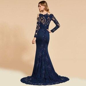 Image 2 - Dressv אלגנטי ארוך שרוולים שמלת ערב מסולסל קצה צוואר חצוצרת תחרה מסיבת חתונה רשמי שמלת ערב שמלות אישית
