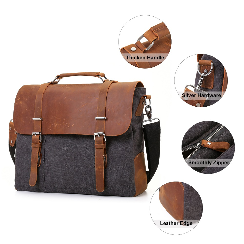 Large Leather Laptop Cross Body Computer Bags Messenger Vintage Leather Bag