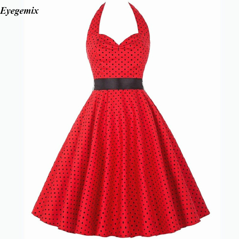 Nowe letnie sukienki damskie 2020 bez ramiączek Polka Dot Retro Vintage 50s 60s szata Rockabilly duża huśtawka Pinup Party Dress Vestidos