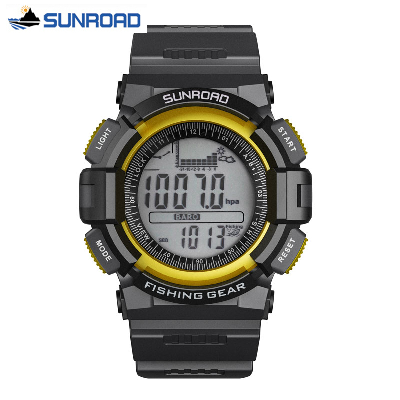 SUNROAD Men Clock Waterproof Altimeter Fishing Barometer Thermometer Altitude Climbing Hiking Digital Watch Relogio Masculino watch men digital watch hours altimeter barometer compass thermometer hygrometer digital pocket watch clock relogio masculino