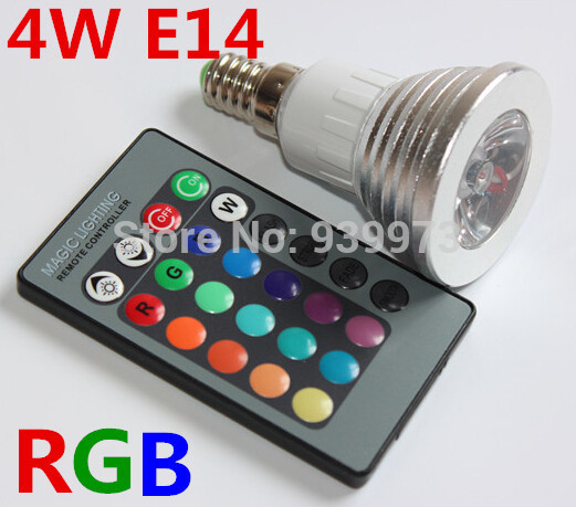 3W/4W  E14 RGB LED Bulb 16 Color Change Lamp spotlight 110v 220v 230v for Home Party decoration with IR Remote 3w e27 e14 gu10 rgb led bulb 16 color led spotlight with ir remote controller ac85 265v spot led lamp for home party decoration