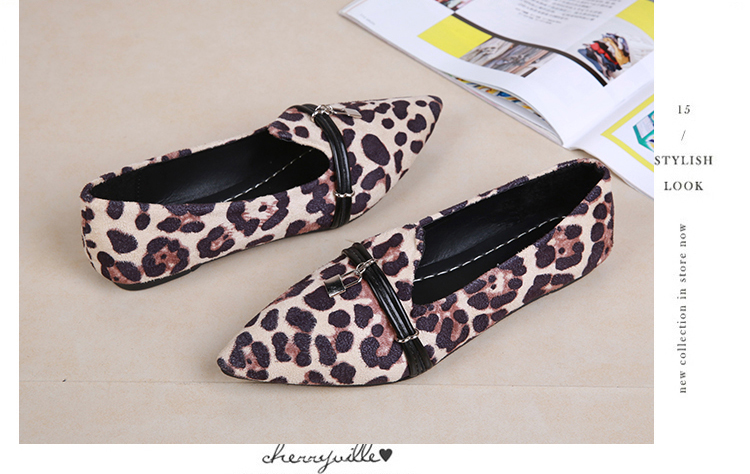 43d79b8acf59 2018 Fashion Women Casual Shoes Autumn Shallow Loafers Flock Pointed Toe  Fur Ballerina Zapatos Mujer Leopard Print Ballet Flats