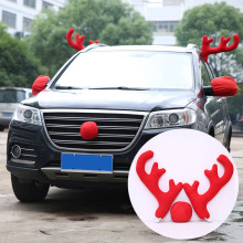 Christmas Party Fun Car Decoration Reindeer Red Nose And Antlers Costume Set Supplies M8617