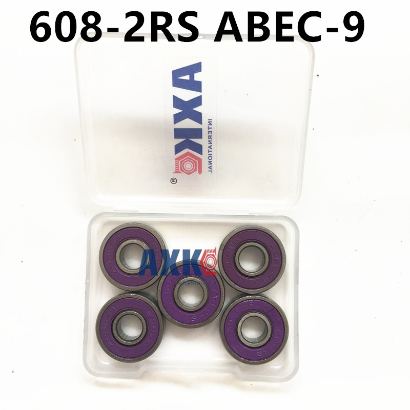 608-2RS 608RS 608 2RS 8mmx22mmx7mm double Purple rubber sealing cover deep groove ball bearing for skate scooter ABEC-9 international tourism and management