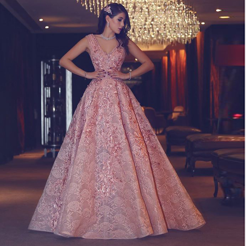 Moroccan Lace Pink Engagement Dress Y V Neck Embroidery D Turkish Evening 2017 Abiye Gece Elbisesi In Dresses From Weddings Events