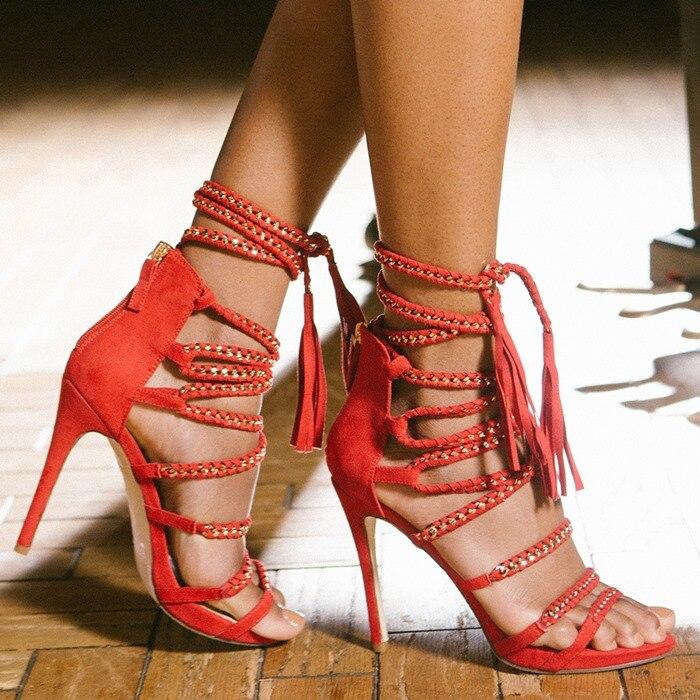 Женские Модные модельные босоножки с цепочкой; сандалии гладиаторы с открытым носком и кисточками; красные, черные вечерние туфли с бахромой и ремешками; Прямая поставка - 5