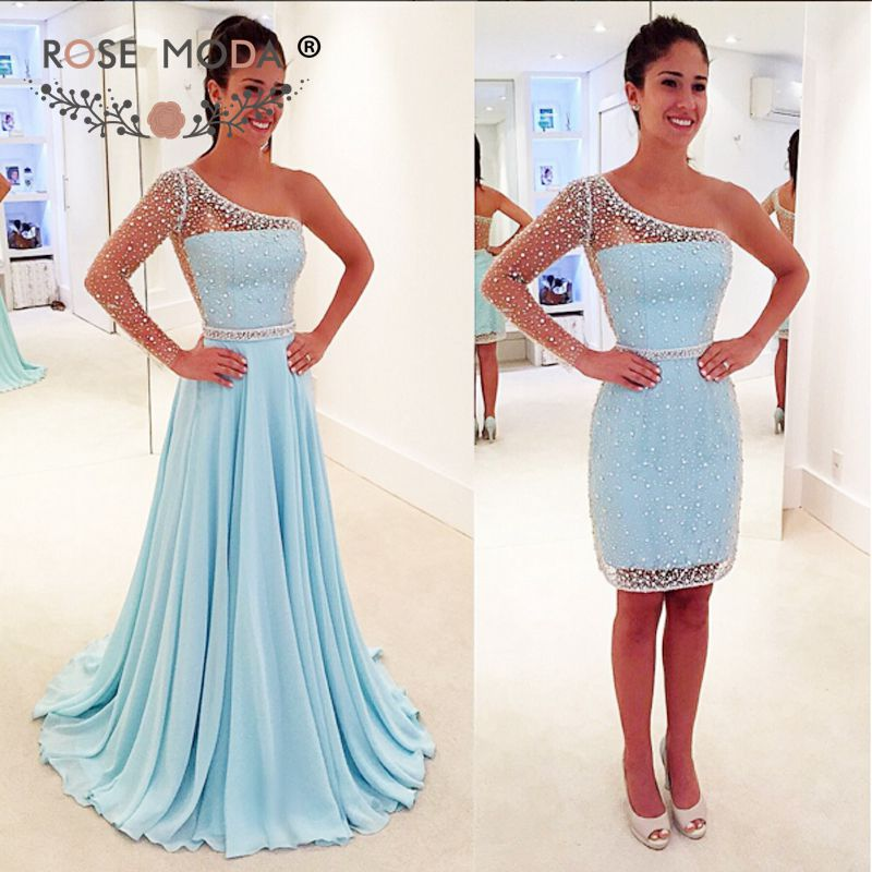 Rose Moda Gorgeous Crystal Beaded Blue Short   Evening     Dress   with Removable Over Skirt One Shoulder Long Sleeve Party   Dress