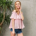 Simplee Off shoulder ruffle chiffon blouse shirt Casual loose pleated short sleeve shirt women tops Summer beach white bluasa
