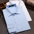 Autumn men's Dress Shirts Long sleeve Formal Working shirts male casual&businesswear Solid color Office men clothing MQ369