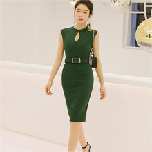 2019 Women Summer Office Lady Dress Knee-Length O-neck Back Cut Hollow Out Evening Party Green Dresses with Sashes hollow cut insert knot back dress