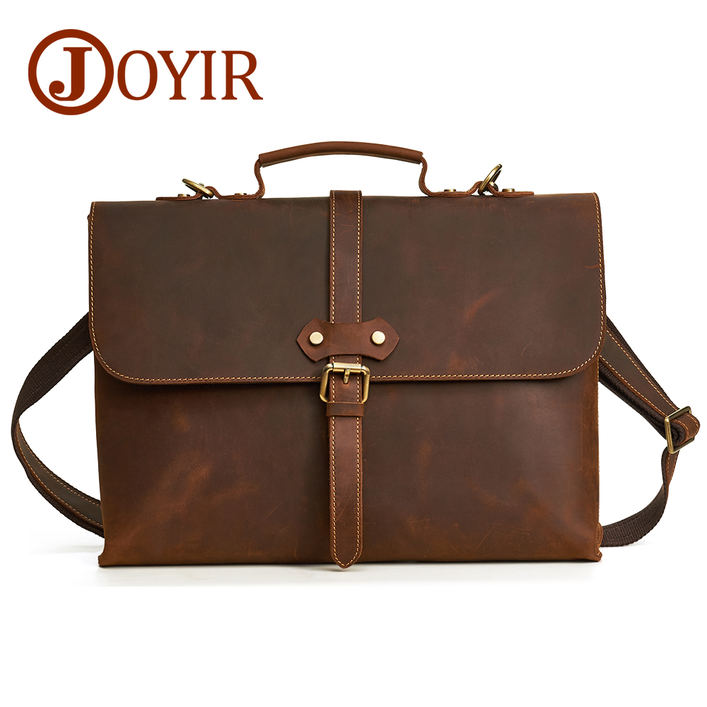 JOYIR 14 Inch Genuine Leather Bag Men Briefcase Leather Laptop Bag Business Computer Shoulder Bags Crossbody Messenger Handbag new high quality male leather men laptop briefcase bag 14 inch computer bags handbag business bag single shoulder business bags