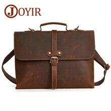 JOYIR Mens Leather Briefcase  Genuine Business Bag Shoulder Bags Crossbody Messenger Handbag Office For Men New