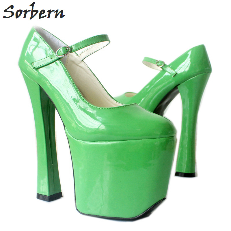 Sorbern Mary Janes <font><b>Shoes</b></font> Green <font><b>Extrem</b></font> <font><b>High</b></font> <font><b>Heels</b></font> <font><b>Sexy</b></font> <font><b>Fetish</b></font> <font><b>Shoe</b></font> Ladies Bdsm Platform Custom Pumps Round Toe Pump <font><b>Shoes</b></font> image