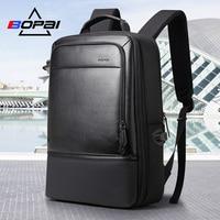BOPAI Fashion Business Men Daypack Backpack Cool Student Schoolbag Backpacks for Boys Black Leather 17 Inch Laptop Backpack