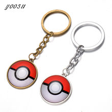 2018 Hot Glass Dome Jewelry Eevee Pokeball Round Keychain Pokemon Pikachu Pendant Personalized Picture Keychain(China)