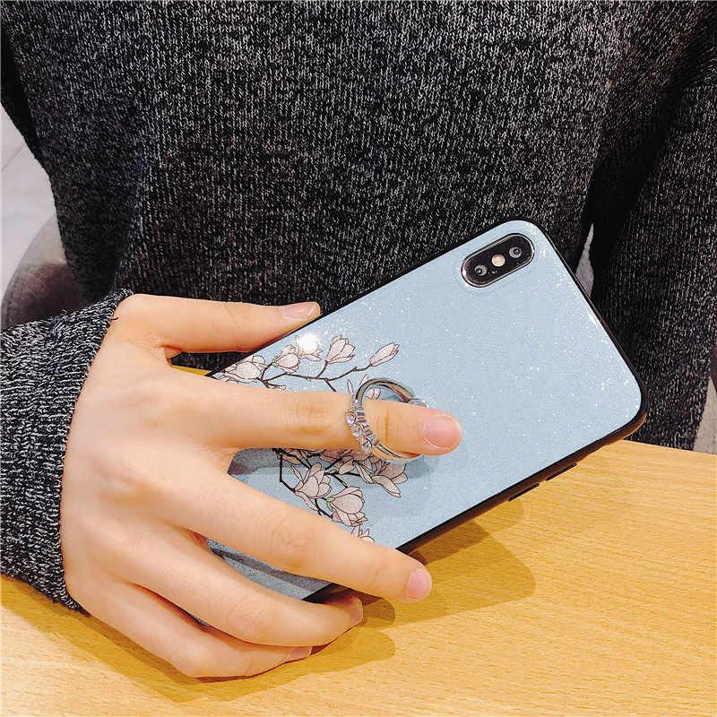 ขาตั้งโทรศัพท์กรณีสำหรับ Samsung Galaxy J3 J4 J5 J6 Plus J7 J8 J2 Pro 2018 Prime Core 2017 j530 J730 ดอกไม้ซิลิโคน