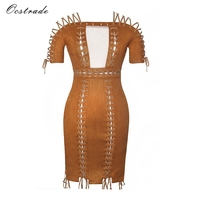Ocstrade Off Shoulder Bodycon Dress 2017 Party Dress Summer Style Runway New Fashon Womens Brown Sexy Clubwear