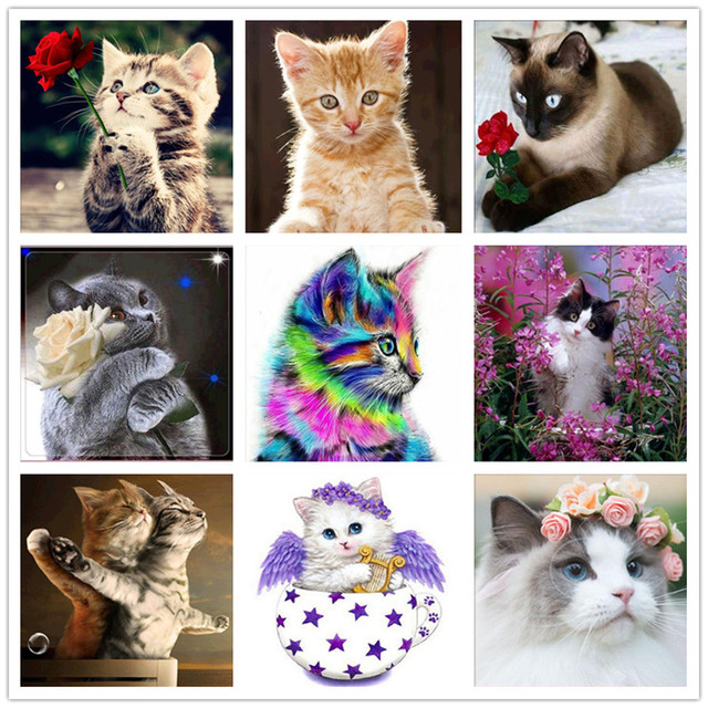 5D DIY Diamond Painting Painted Cartoon Animals Cats Mosaic Embroidery Animal Cross stitch Embroidery Crafts Decoration