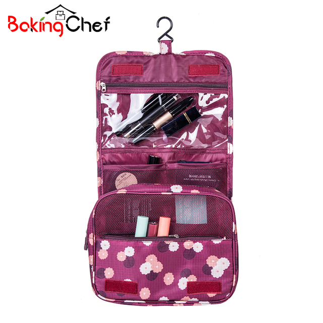BAKINGCHEF Women Toiletry Organizer Cosmetic Bag Hanging Casual Wash Makeup Travel Camping Overnight Storage Cases Accessories