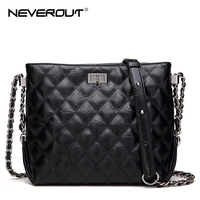 NEVEROUT 2 Size Classic Lattice Hobo Handbags Fashion Cross Body Bag High Quality Split Leather Bag Lady Twist Lock Shoulder Bag