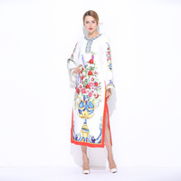 Personalizado Sobre O Vestido de Tamanho S-7XL 2017 Verão Mais Novo O Pescoço Colorido Impressão Vaso Moda Mid-Bezerro Longo jag Solto Vestido mulheres 12213