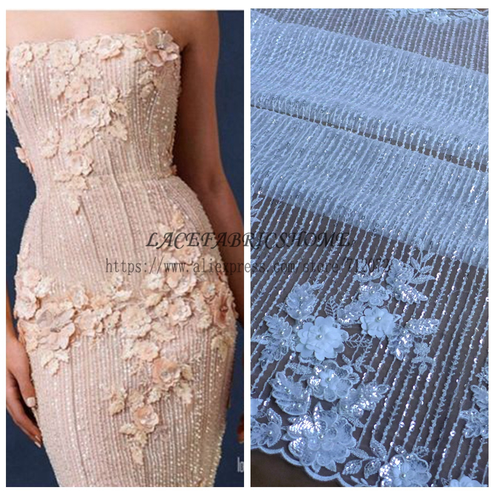 La Belleza Hot hot fashion style Off white beading sequins 3D flowers lace fabric wedding evening