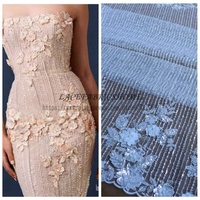 La Belleza Hot hot fashion style Off white beading sequins 3D flowers lace fabric wedding/evening dress lace fabric