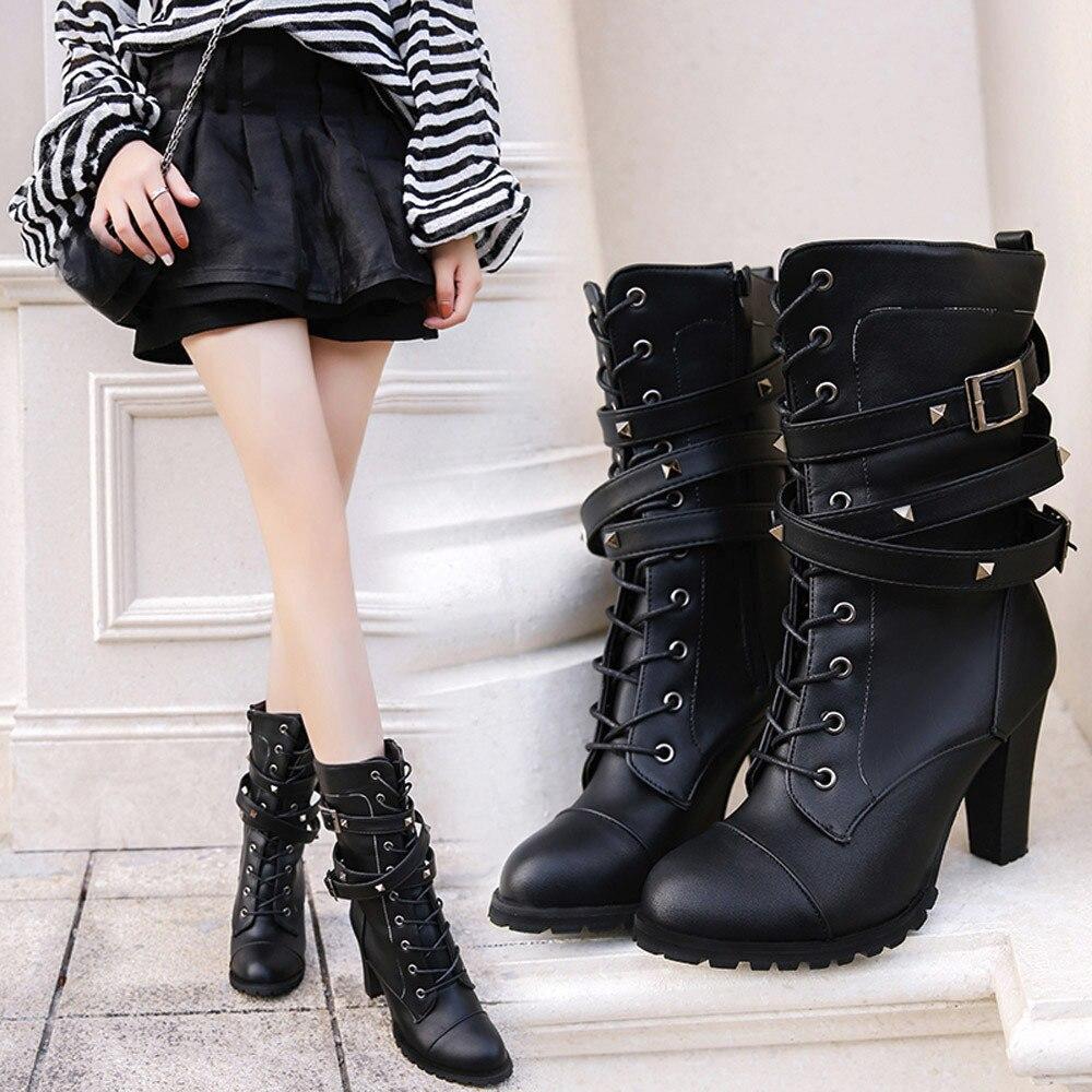 shoes Boots Women Ladies Classics Rivet Belt High Heels Mid-Calf Boots Shoes Martin Motorcycle Zip boots women 2018Oct31 9