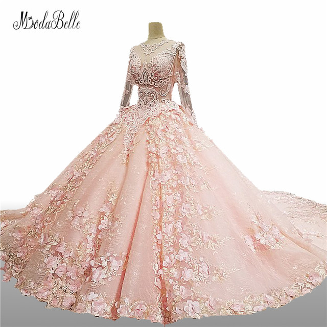 Pink White Princess Wedding Dresses: Modabelle Princess Pink Ball Gown Crystal Luxury Wedding
